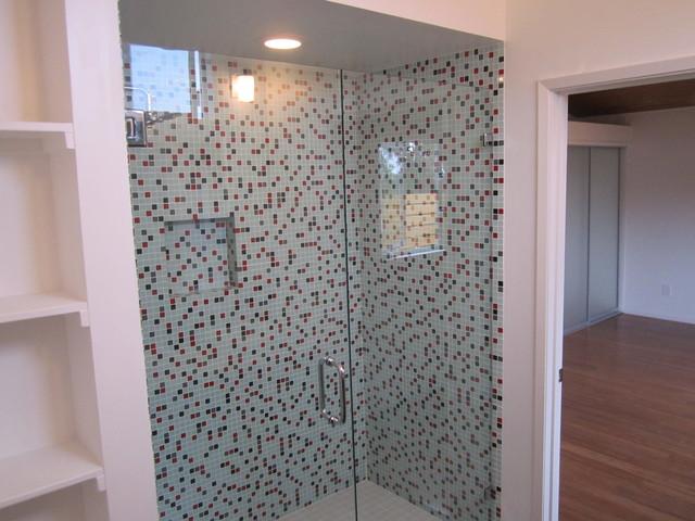 Mid Century Modern Glass Mosaic Shower modern-bathroom