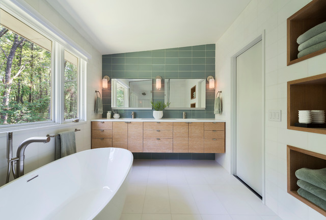 Mid century modern in lincoln midcentury bathroom for Mid century modern bathroom vanity ideas