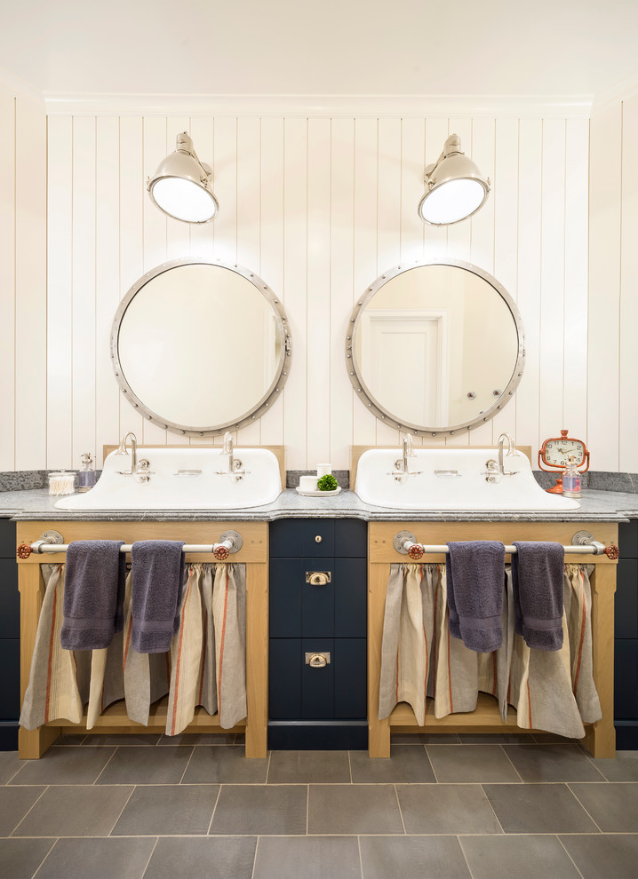 Bathroom - cottage bathroom idea in Salt Lake City with white walls and a trough sink