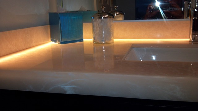 Milk Glass Bath Light: Milk Glass Vanity Top W/LED Lighting