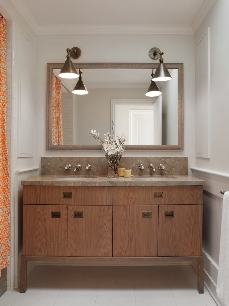 Inspiration for a timeless shower curtain remodel in San Francisco with flat-panel cabinets