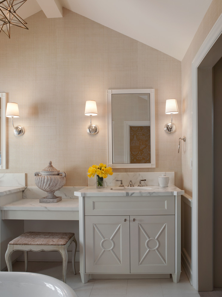 Bathroom - traditional bathroom idea in San Francisco with white cabinets