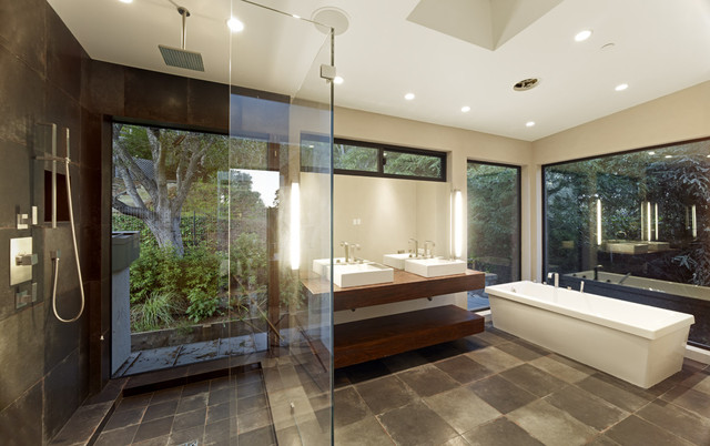 Contemporary master bathrooms native home garden design for Modern master bathroom