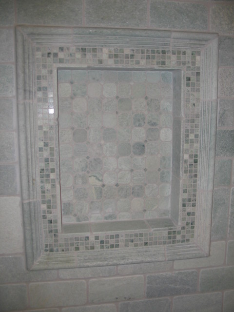 Ming green tumbled and polished marble niche for Tumbled marble bathroom designs