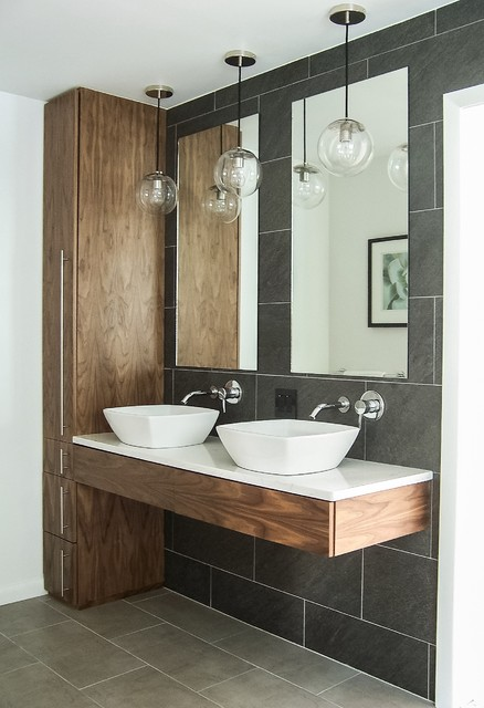 Perfect Inspiration For A Mid Sized Contemporary Master Gray Tile And Ceramic Tile  Ceramic Floor Bathroom