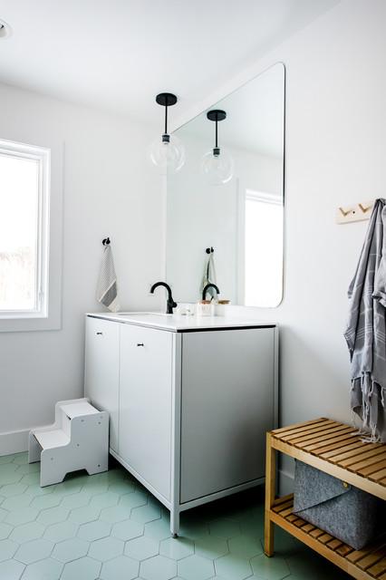 Minimalist Hexagon Guest Bathroom Scandinavian