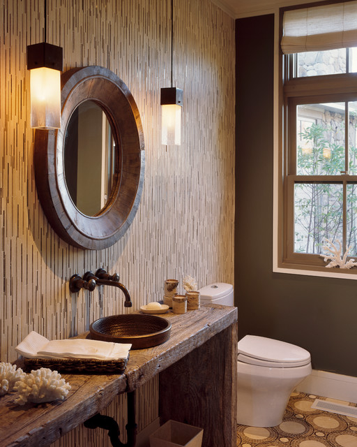 Transitional bathroom photo in Boston with a vessel sink and brown walls
