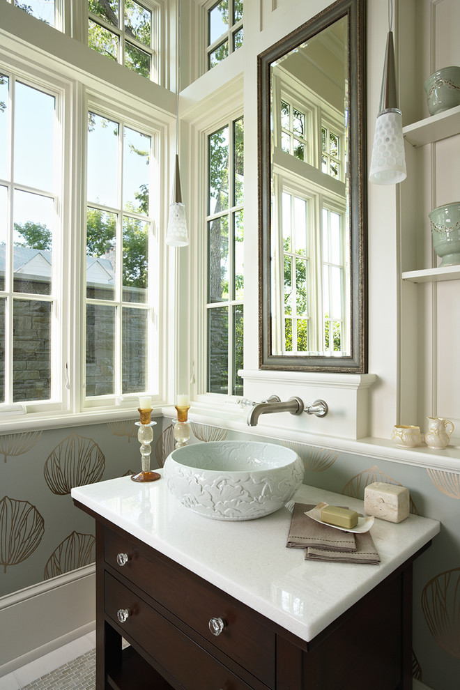 Example of an ornate bathroom design in Minneapolis with a vessel sink and multicolored walls