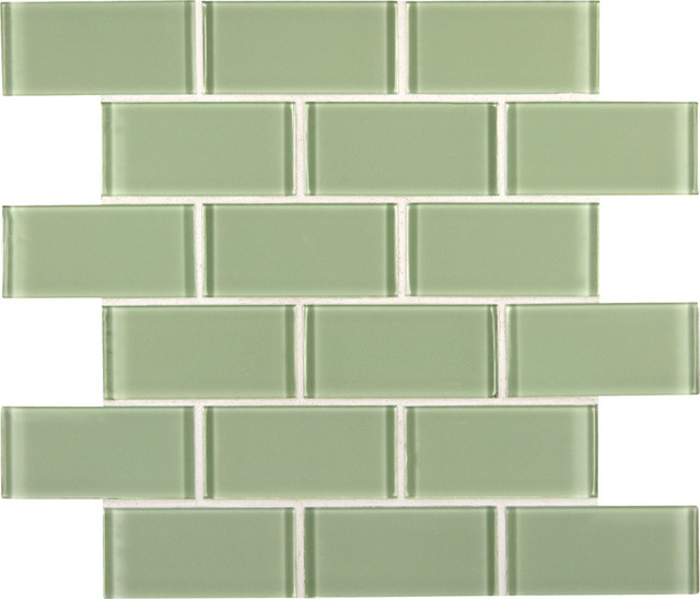 Unique Mint Green Crystal Glass Subway Tile - Bathroom - Orange County  NK82