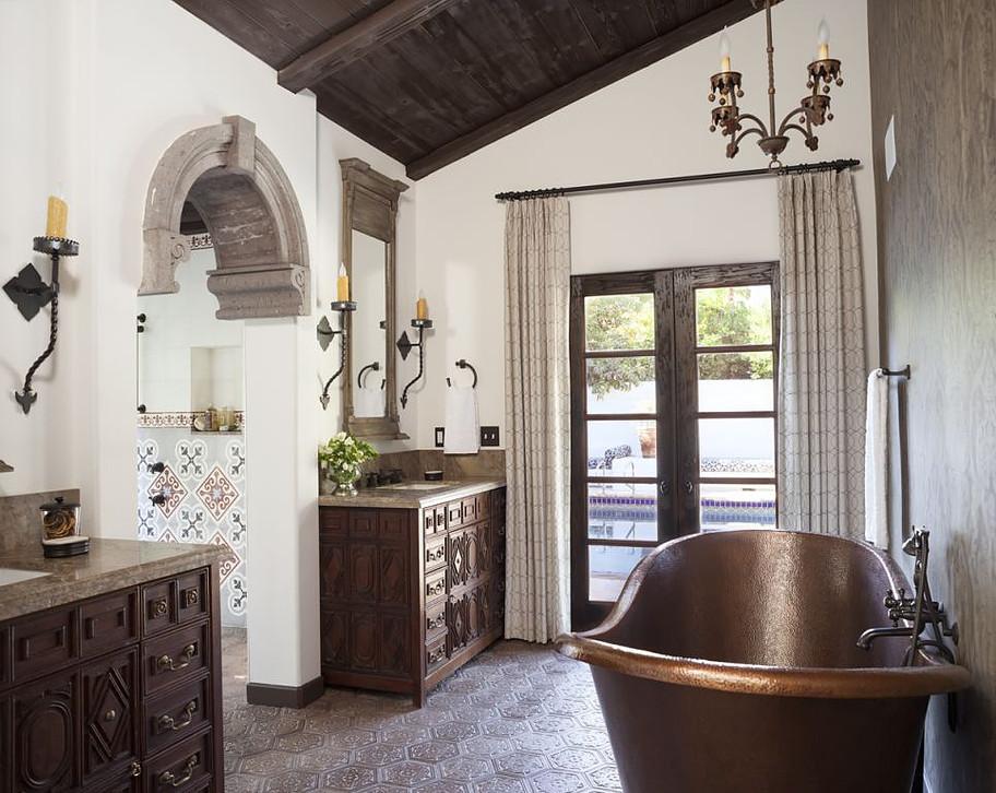 Mission Revival bathroom draperies - Craftsman - Bathroom ...