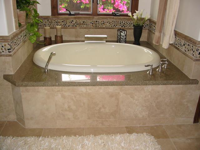 Mix Polished Pebble Tile Bath Tub Border Wall Modern Bathroom