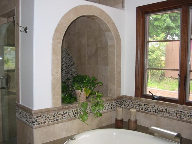 Mix Polished  Pebble Tile Bathroom Wall modern-bathroom