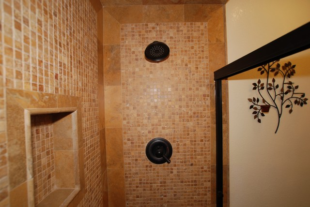 Moasic Tile Shower & Glass Sink pedestal With Copper Dolphin Faucet mediterranean-bathroom