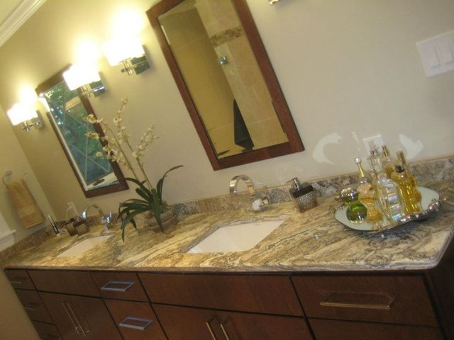 Mocha Onyx Travertine Vanity Top contemporary bathroom