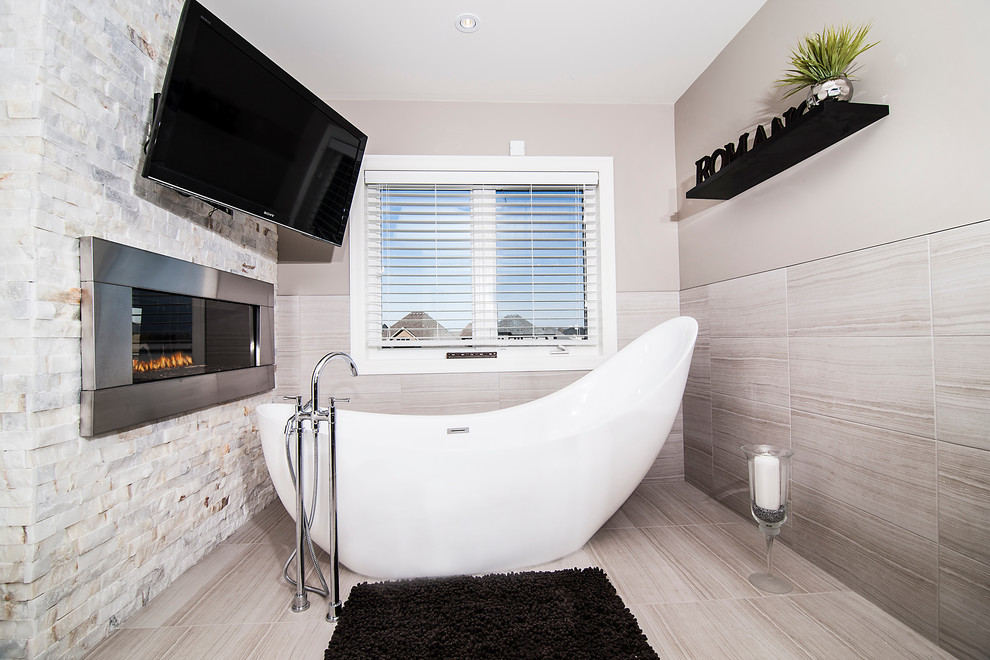 Example of a trendy freestanding bathtub design in Toronto