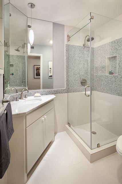 Modern bath in blues and cream modern bathroom for Bathroom interior design austin tx