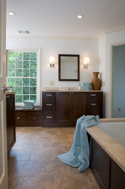 Modern bath with ample light and storage traditional-bathroom