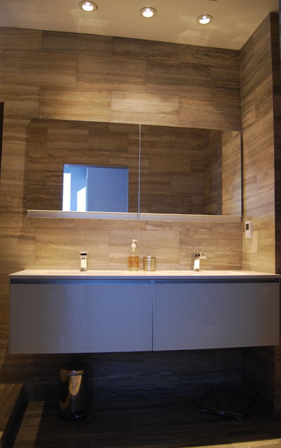 Modern bath with Silver Travertine stone, dual shower ...