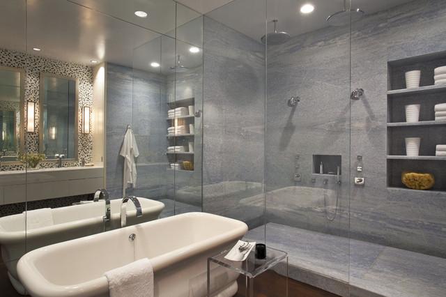 Modern Marble Tile Freestanding Bathtub Idea In New York