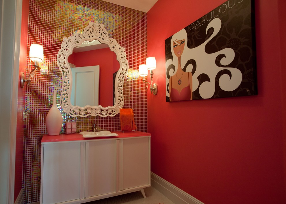 Bathroom - contemporary red tile and mosaic tile bathroom idea in San Diego with a vessel sink, flat-panel cabinets and white cabinets