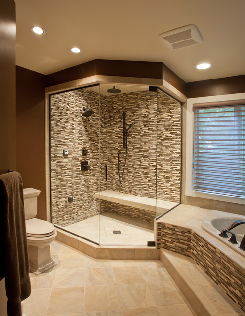 Ceramic glass tile shower contemporary bathroom for Tub in master bedroom