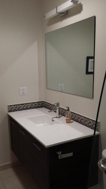 Modern Bathroom - Flat Specialty Melamine Doors with Horizontal Grain - Modern - Bathroom ...