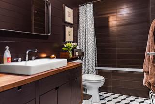 Salle de bain moderne avec un carrelage marron : Photos et ...