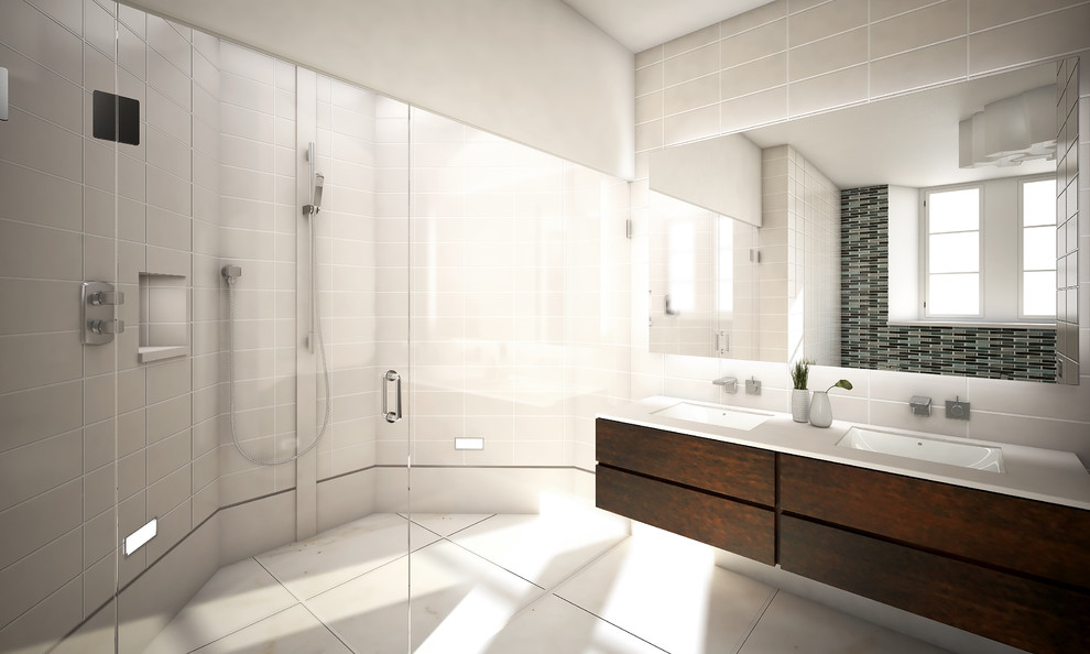 Alcove shower - modern gray tile alcove shower idea in Other with an undermount sink, flat-panel cabinets and dark wood cabinets