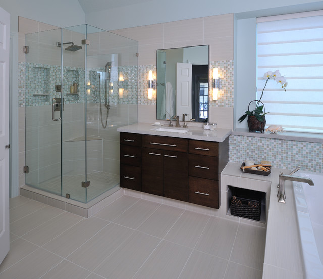 modern bathroom remodel with mosaic tile modern bathroom - Modern Bathroom Remodel
