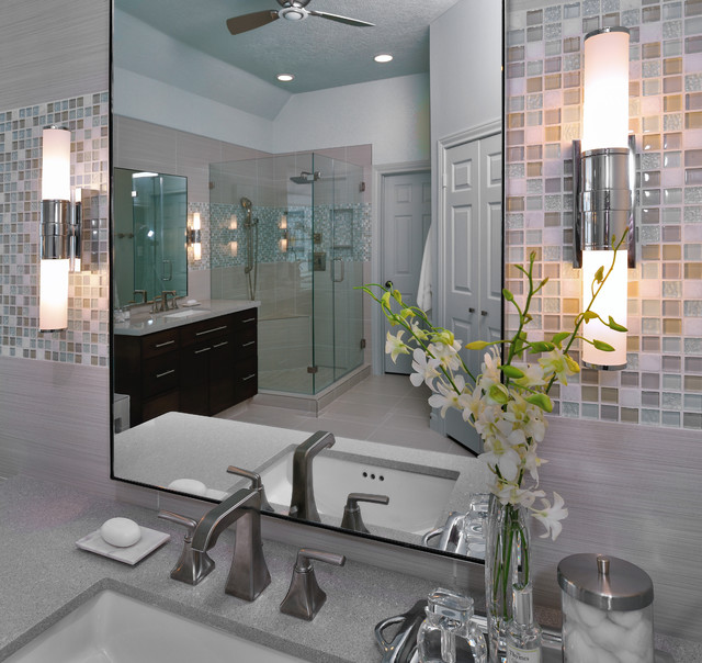 Modern Bathroom Remodel with Mosaic Tile modern bathroom