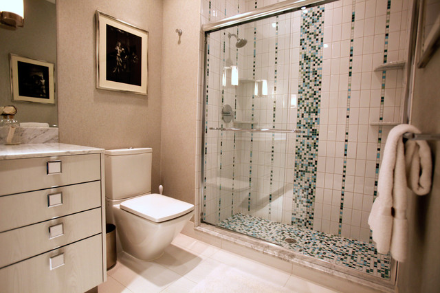 mosaic tile in bath modern bathroom other metro by