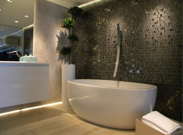 Modern bathroom with hand cut grey glass mosaic - Modern - Bathroom ...