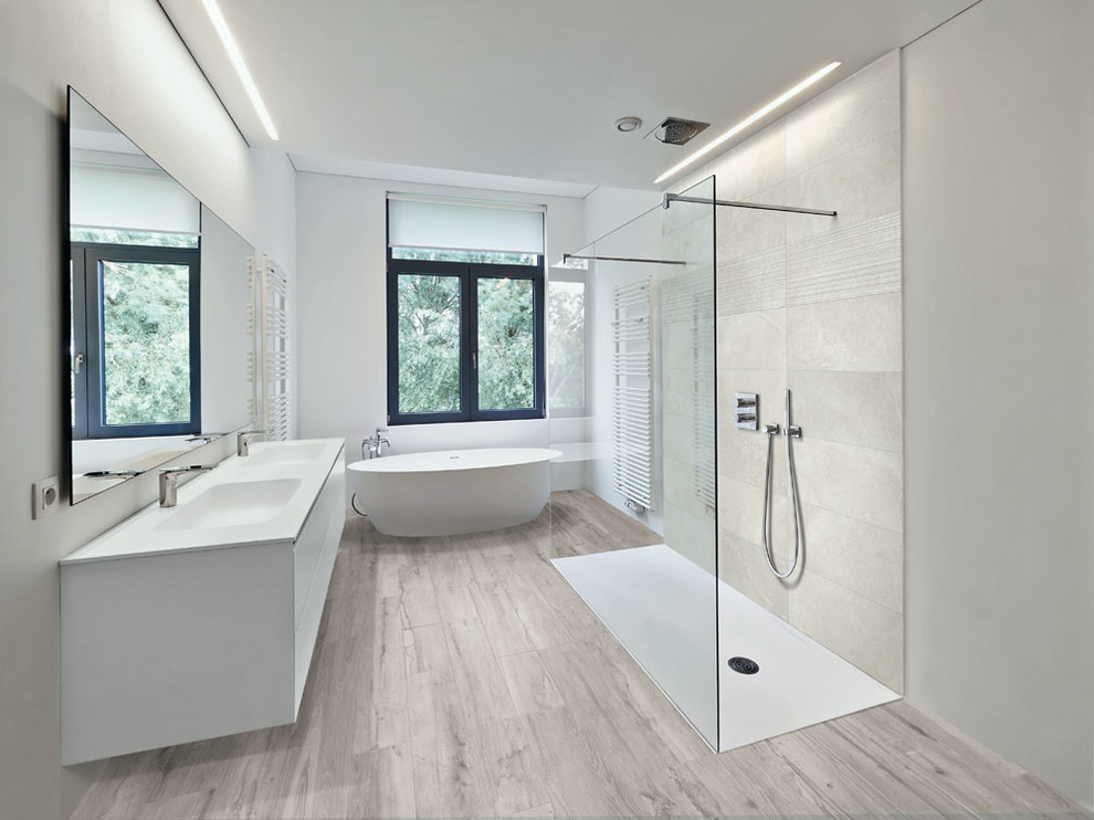 Large minimalist master gray tile and porcelain tile porcelain tile and gray floor bathroom photo in Miami with flat-panel cabinets, white cabinets and white walls