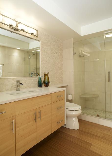 Modern Bathroom With Wall Hung Bamboo Cabinets Modern
