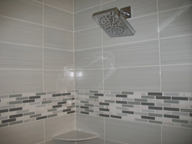 Modern bathroom with white tile contemporary bathroom for Contemporary bathroom tiles
