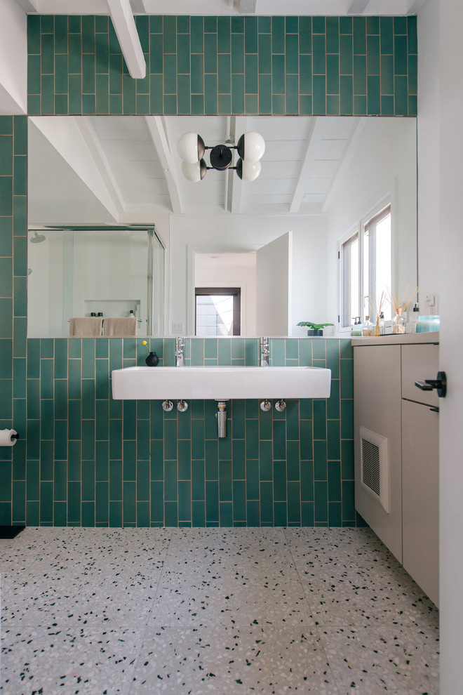 Bathroom - small coastal kids' green tile and ceramic tile terrazzo floor and multicolored floor bathroom idea in Orange County with flat-panel cabinets, gray cabinets, a wall-mount sink and white countertops