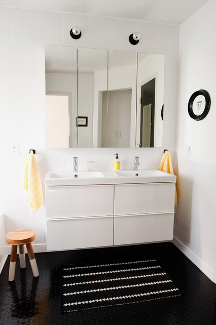 Ikea Godmorgon Vanity Light ~ Modern black and white bathroom  Modern  Bathroom  dallas  by