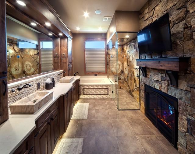Modern cabin rustic bathroom by pierce flooring amp cabinet design