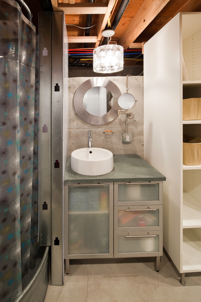 Inspiration for a contemporary shower curtain remodel in Seattle with a vessel sink