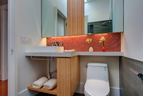 modern cabinetry in tight bathroom