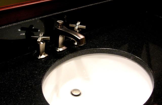 Modern cherry custom vanity traditional-bathroom