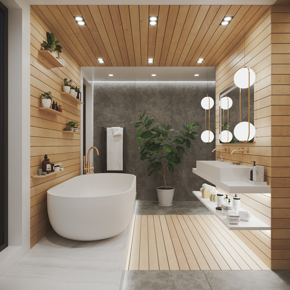 Modern Contemporary Bathroom - Full lighting - Modern ...