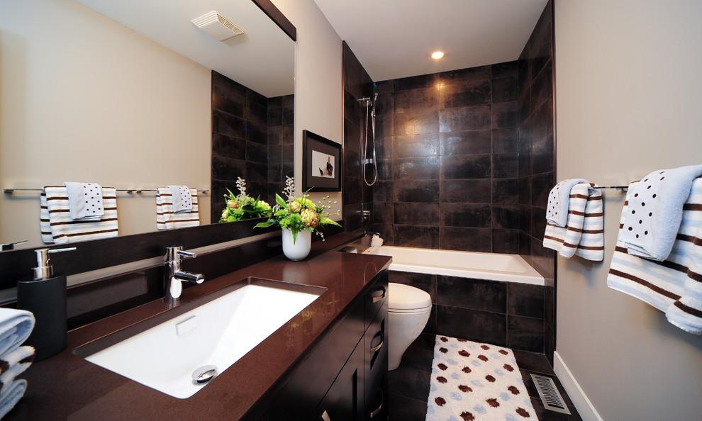 Bathroom - contemporary bathroom idea in Calgary with an undermount sink