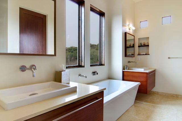 Modern Contemporary Master Bathroom - Mediterran ...