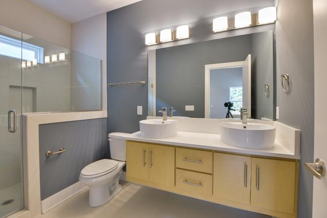 Modern craftsman shotgun modern bathroom nashville for Modern craftsman interior design