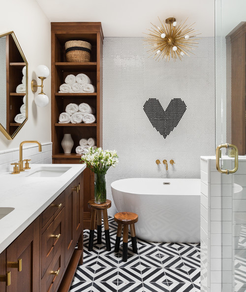 modern family bathroom with open shelving and soaker tub