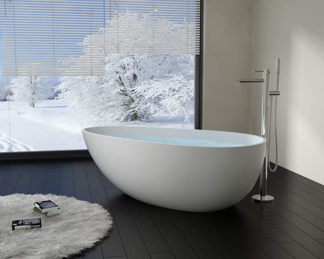 Modern egg shaped stone resin freestanding bathtub bw 01 for Extra long soaking tub