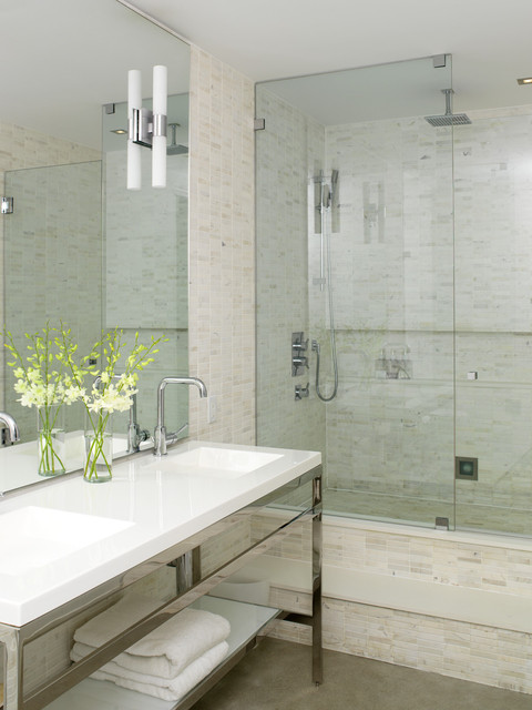 Modern ensuite industrial bathroom toronto by Ensuite tile ideas pictures