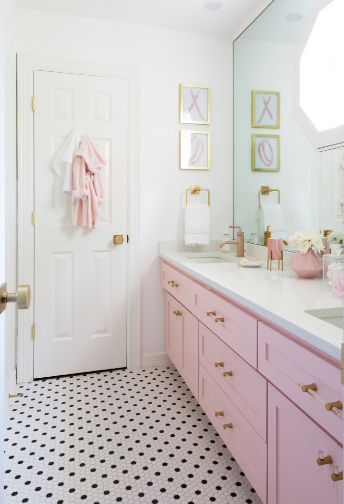 Huge transitional kids' white tile porcelain tile, white floor and double-sink bathroom photo in Houston with recessed-panel cabinets, white walls, a drop-in sink, quartz countertops and white countertops