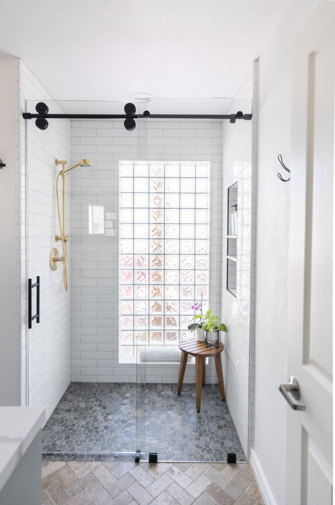 Example of a mid-sized farmhouse 3/4 white tile and subway tile pebble tile floor, gray floor and single-sink bathroom design in Phoenix with a niche, shaker cabinets, turquoise cabinets, an undermount sink, quartz countertops, white countertops and a built-in vanity